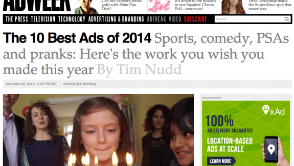 Don't Panic Scores 2nd Best Ad of the Year
